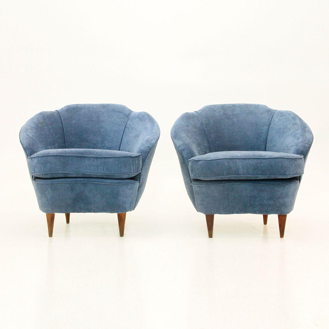 italienische mid century samt sessel 1950er 2er set bei pamono kaufen. Black Bedroom Furniture Sets. Home Design Ideas