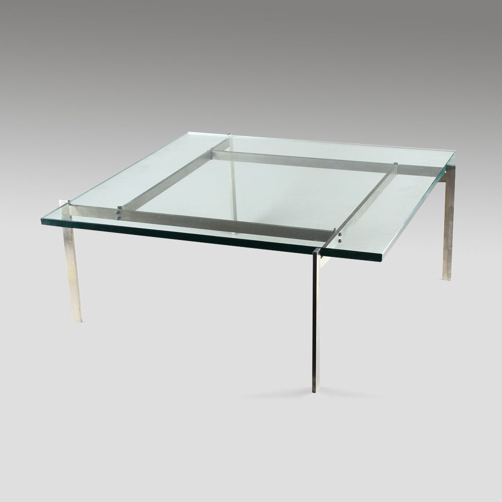 Pk61 glass top coffee table by poul kjaerholm for e kold pk61 glass top coffee table by poul kjaerholm for e kold christensen geotapseo Gallery