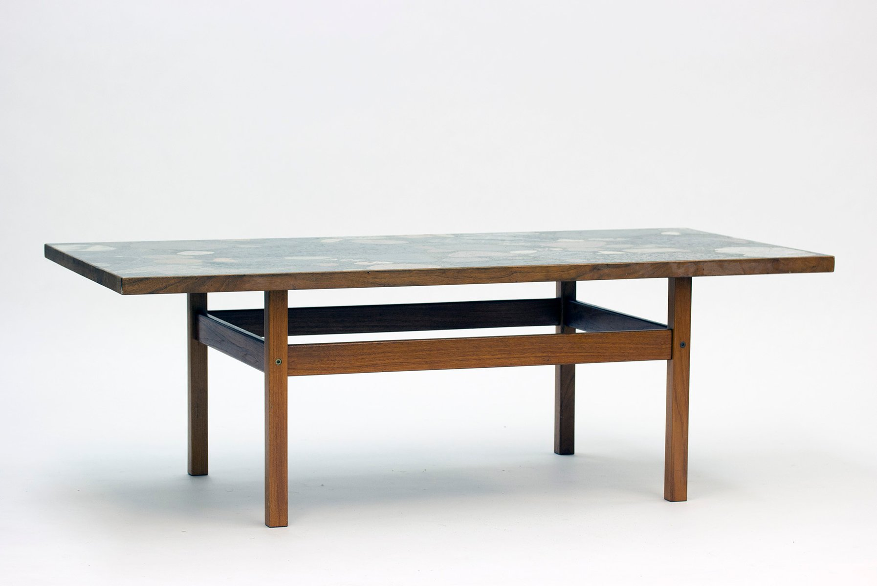 Norwegian teak coffee table with stone top by erling viksj 1970s for sale at pamono Stone coffee table top
