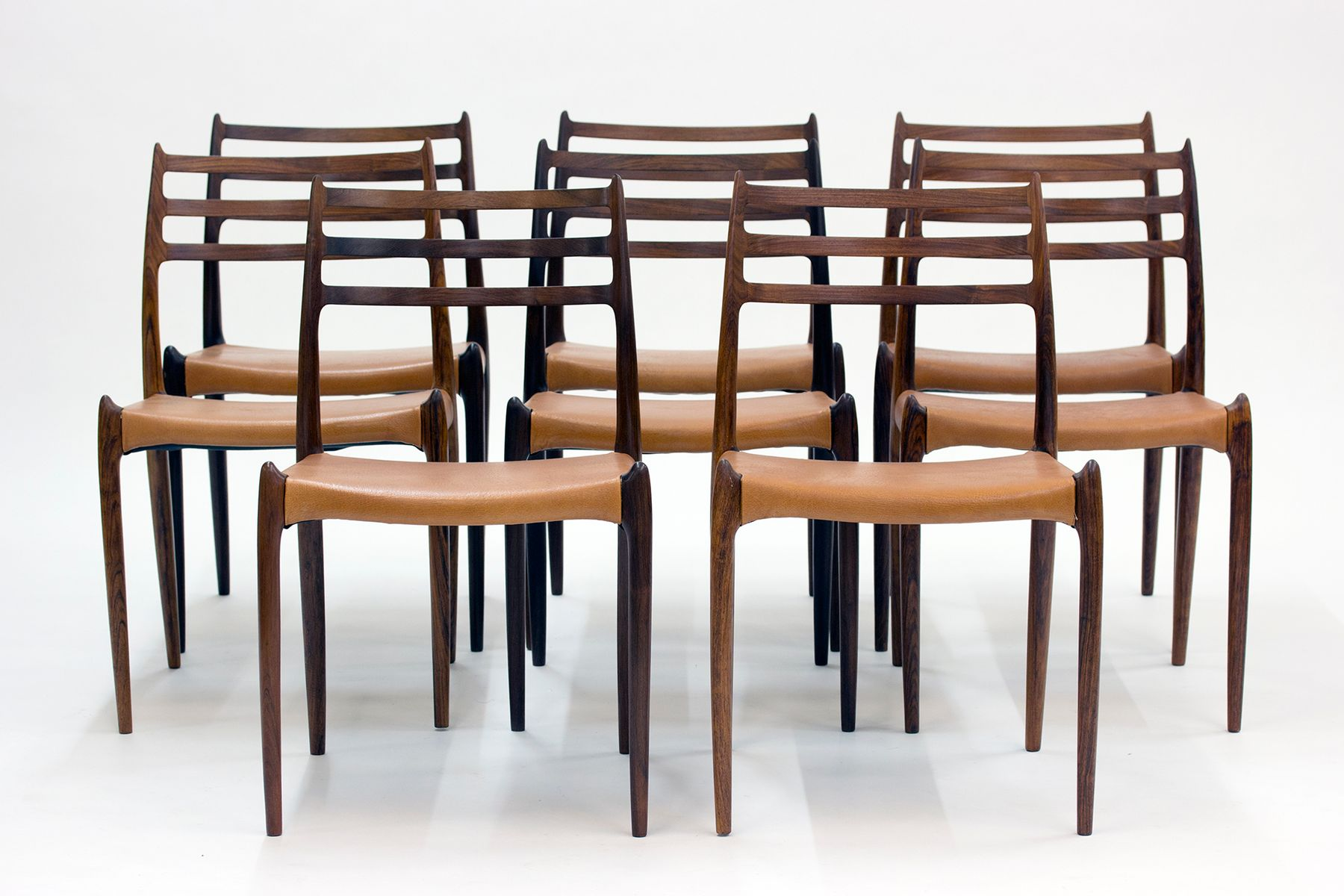 Danish rosewood dining chairs by niels o m ller for j l for Danish dining room chairs