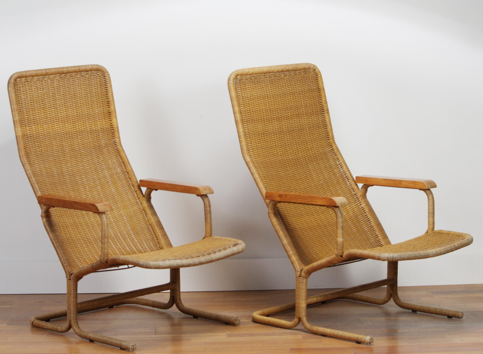 Rattan Lounge Chair by Dirk van Sliedregt for Gebr