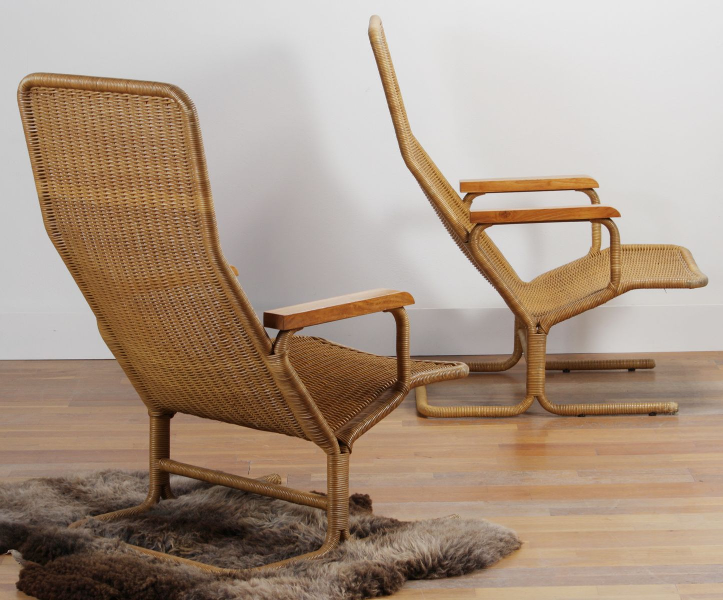 rattan lounge chair by dirk van sliedregt for gebr. Black Bedroom Furniture Sets. Home Design Ideas
