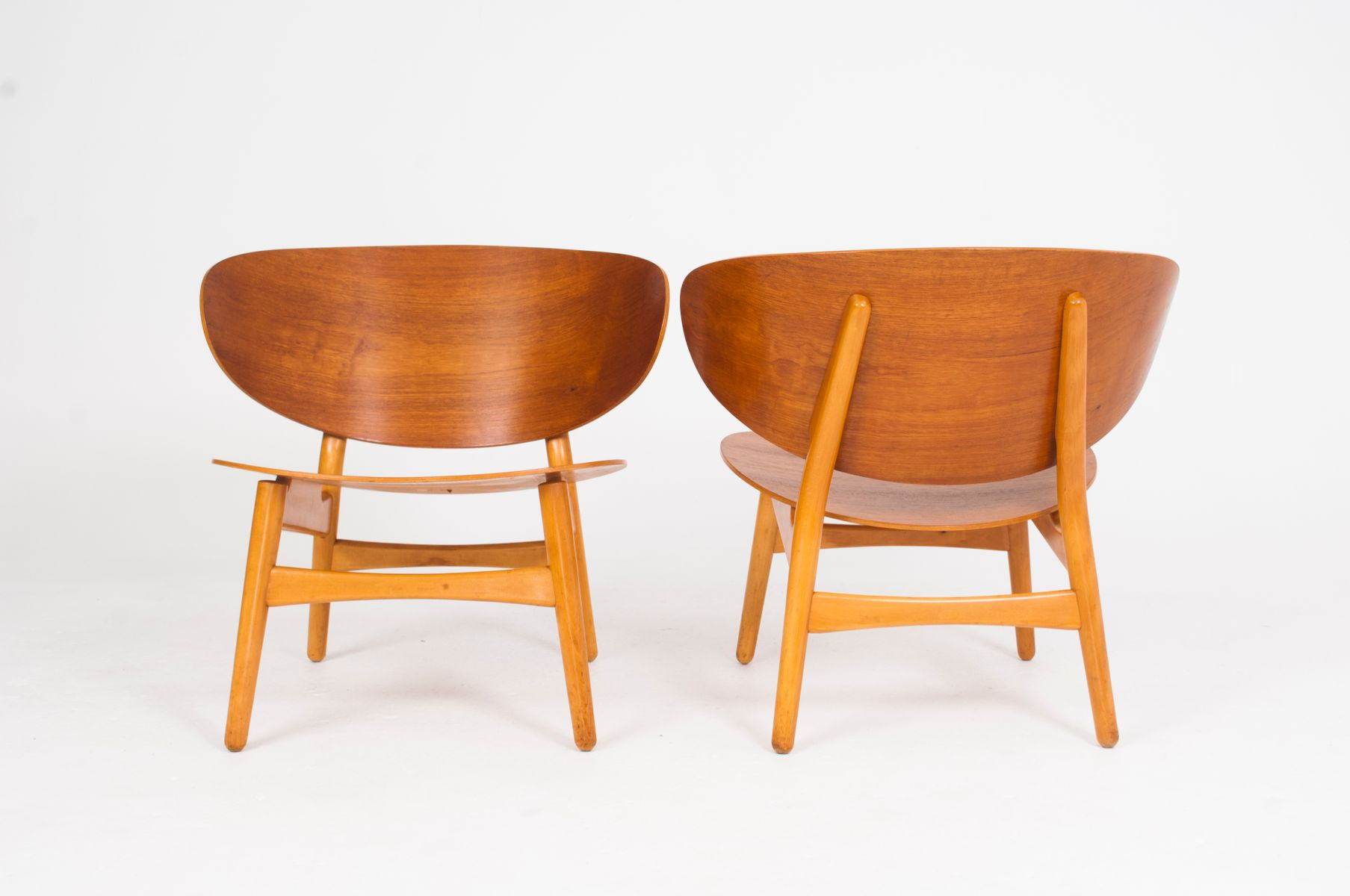 fh1936 shell chairs by hans j wegner for fritz hansen set of 2 for sale at pamono. Black Bedroom Furniture Sets. Home Design Ideas