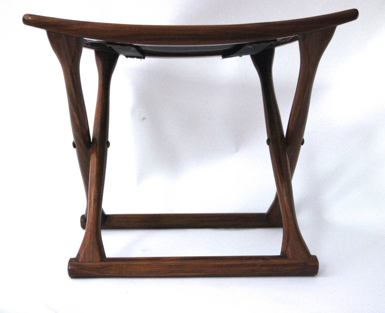 Danish Mahogany Amp Leather Folding Stool 1970s For Sale At