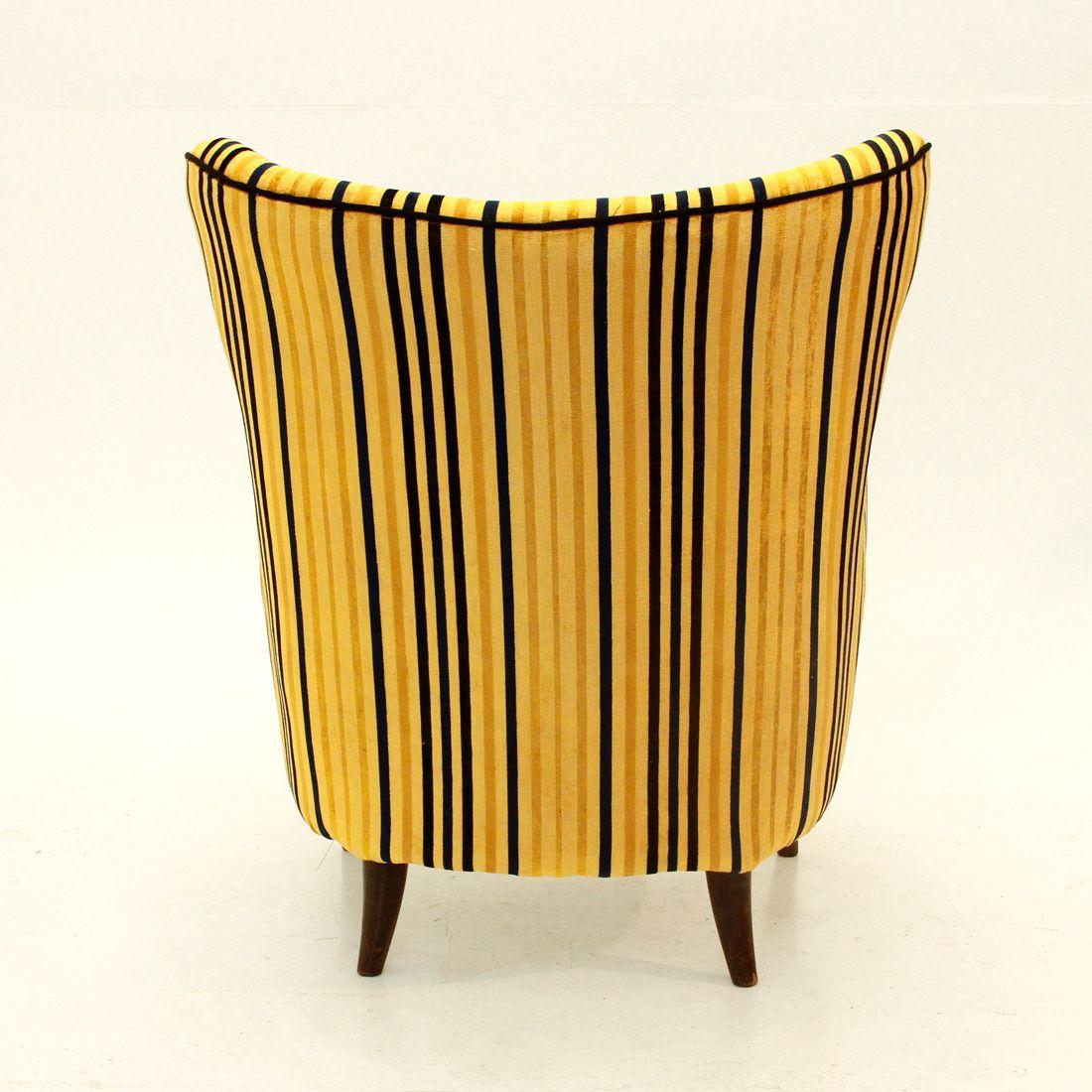 Italian Mid Century Yellow Striped Velvet Armchair 1950s