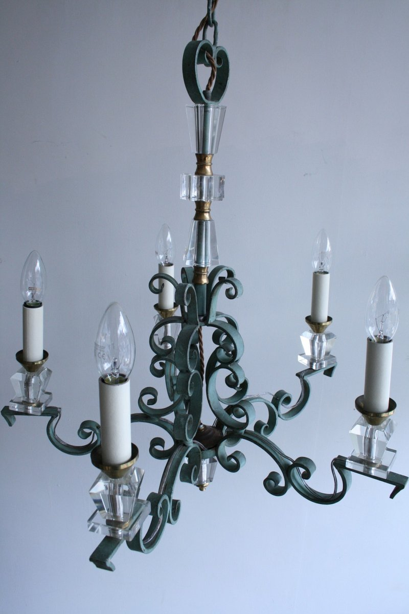 Vintage french wrought iron and crystal chandelier for sale at pamono - Classic wrought iron chandeliers adding more elegance in the room ...