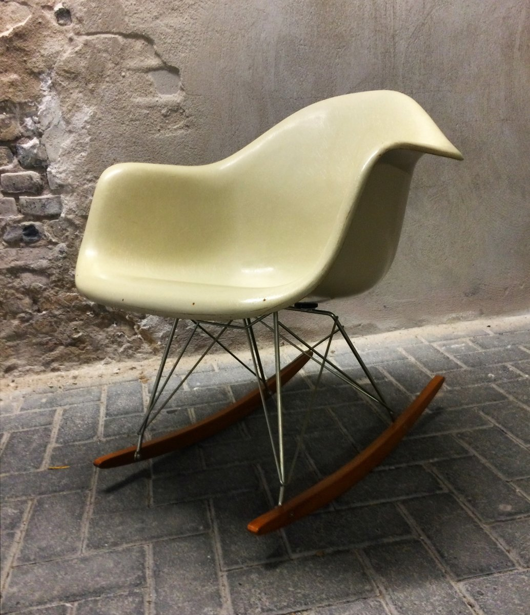 beige rar rocking chair by charles ray eames for fehlbaum for sale