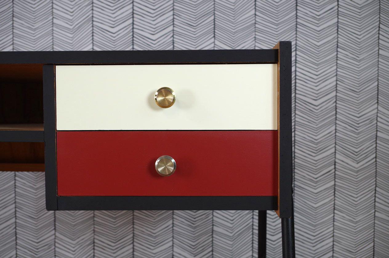 vintage schreibtisch mit roter wei er schublade 1960er. Black Bedroom Furniture Sets. Home Design Ideas