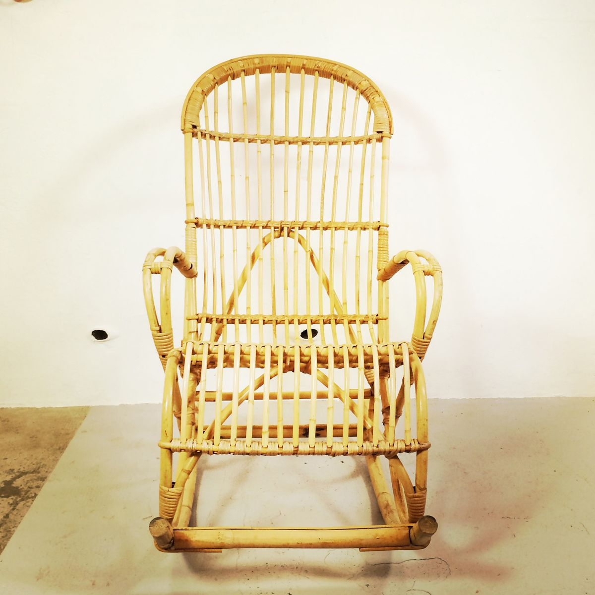 Vintage French Bamboo Rocking Chair for sale at Pamono
