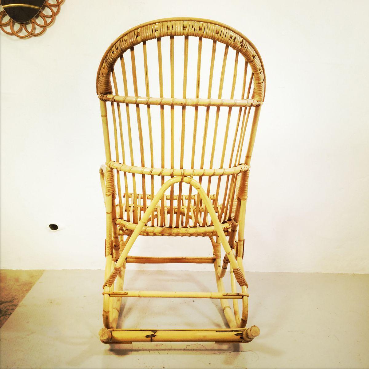 franz sischer vintage bambus schaukelstuhl bei pamono kaufen. Black Bedroom Furniture Sets. Home Design Ideas