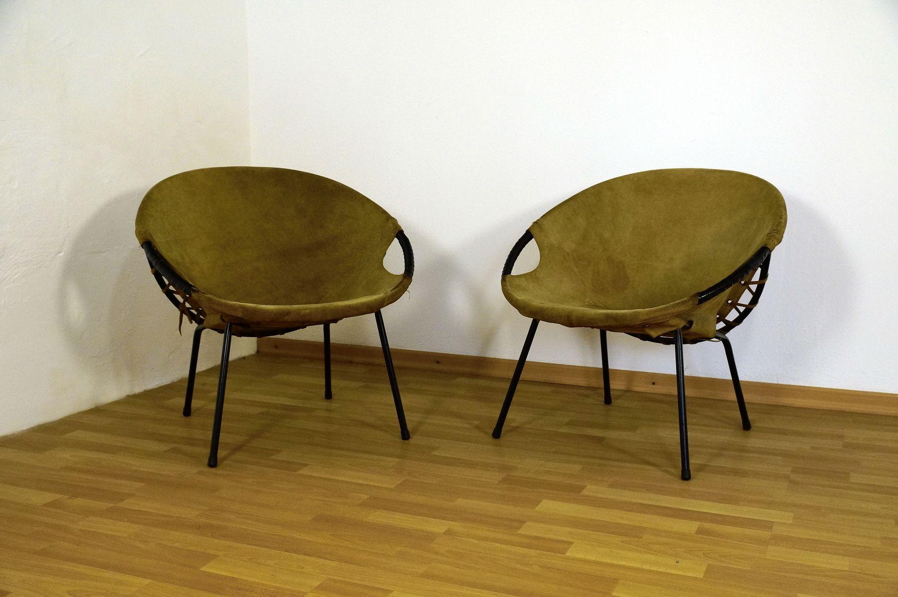 deutsche lounge st hle aus wildleder von lusch co 1960er 2er set bei pamono kaufen. Black Bedroom Furniture Sets. Home Design Ideas