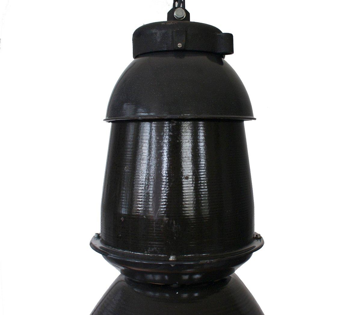 grande lampe suspension industrielle noire 1950s en. Black Bedroom Furniture Sets. Home Design Ideas