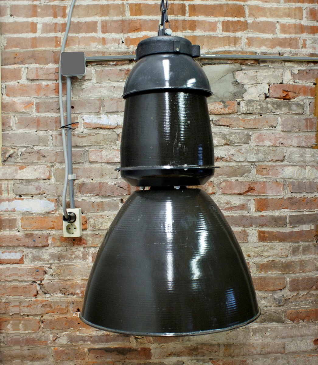 Grande lampe suspension industrielle noire 1950s en - Suspension industrielle noire ...