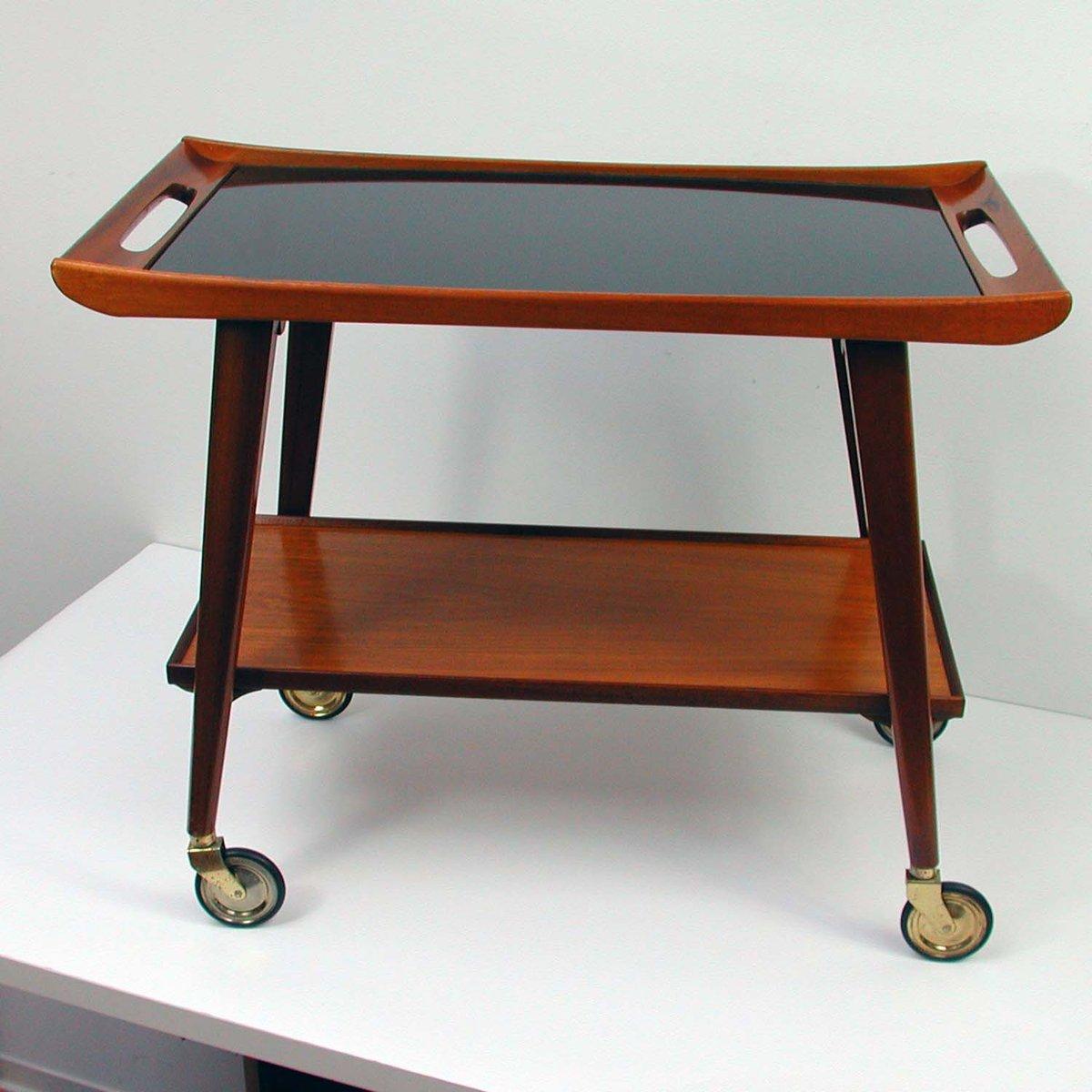 deutscher servierwagen aus teak und glas von opal m bel 1960er bei pamono kaufen. Black Bedroom Furniture Sets. Home Design Ideas
