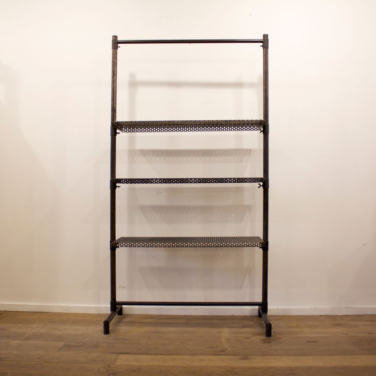 vintage french industrial metal shelving unit from roneo. Black Bedroom Furniture Sets. Home Design Ideas