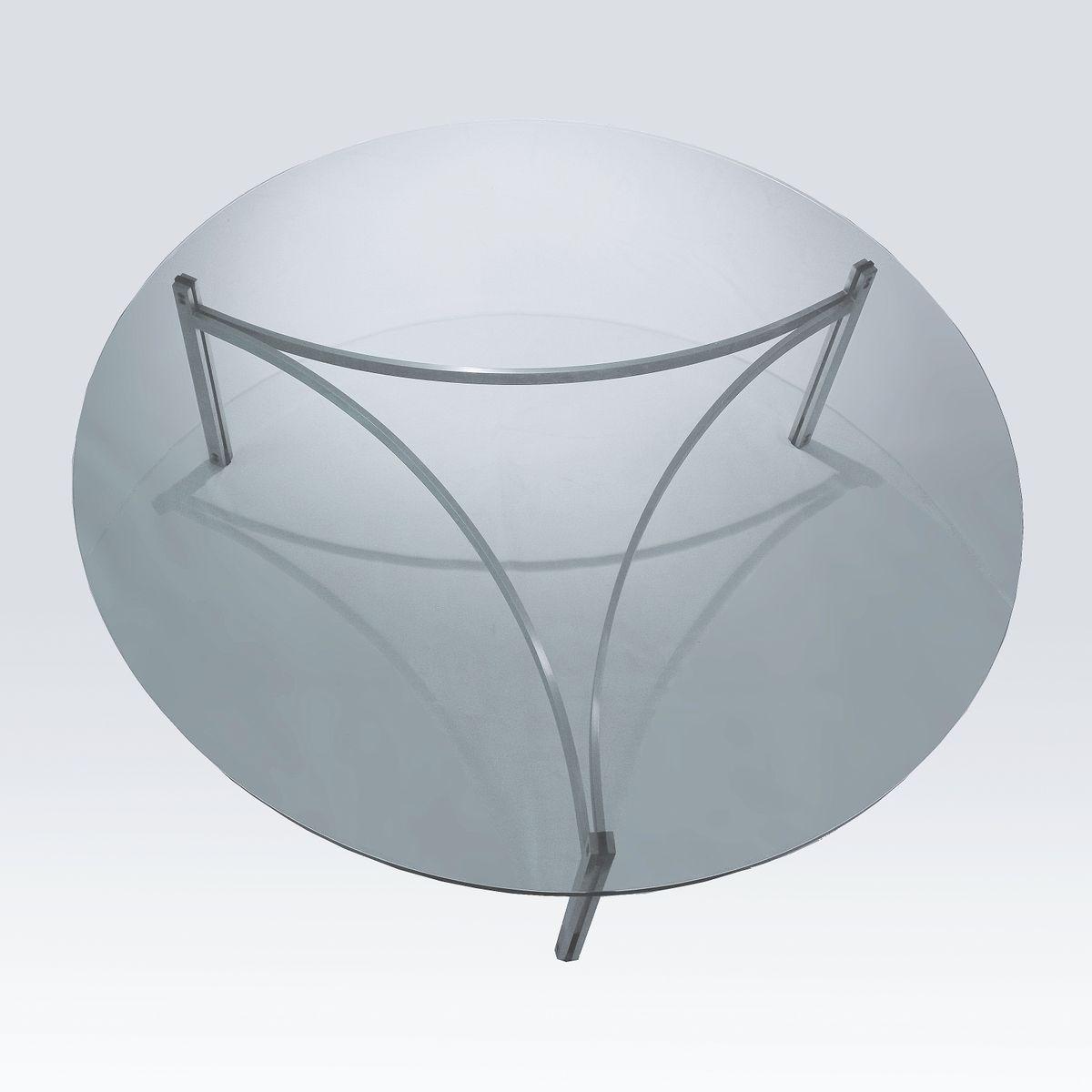 Runder d nischer couchtisch aus glas stahl von preben for Couchtisch glas stahl