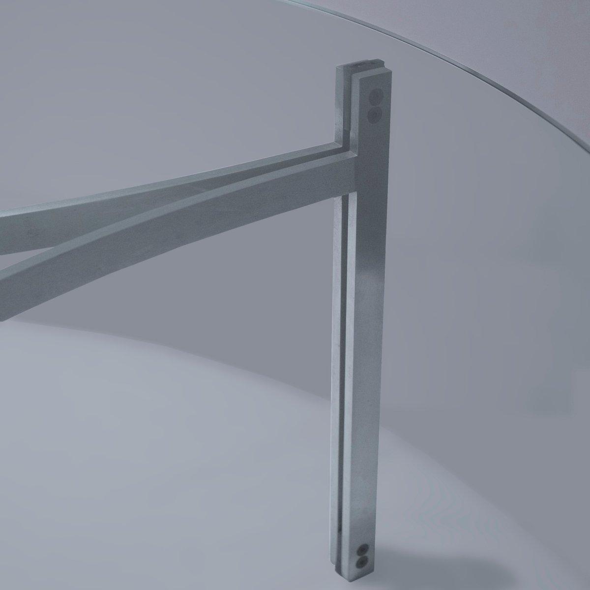 runder d nischer couchtisch aus glas stahl von preben. Black Bedroom Furniture Sets. Home Design Ideas