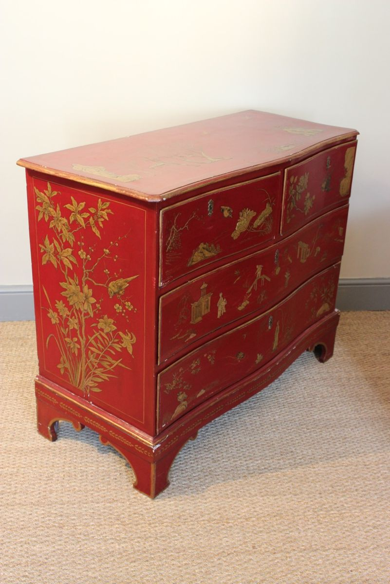 antique red lacquered chinoiserie commode with golden florals for sale at pamono. Black Bedroom Furniture Sets. Home Design Ideas