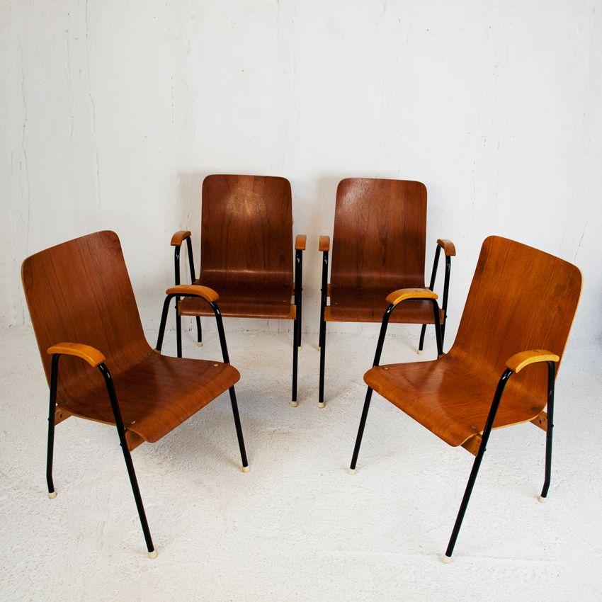 schwedische st hle aus teak und lackiertem metall 1960er 4er set bei pamono kaufen. Black Bedroom Furniture Sets. Home Design Ideas