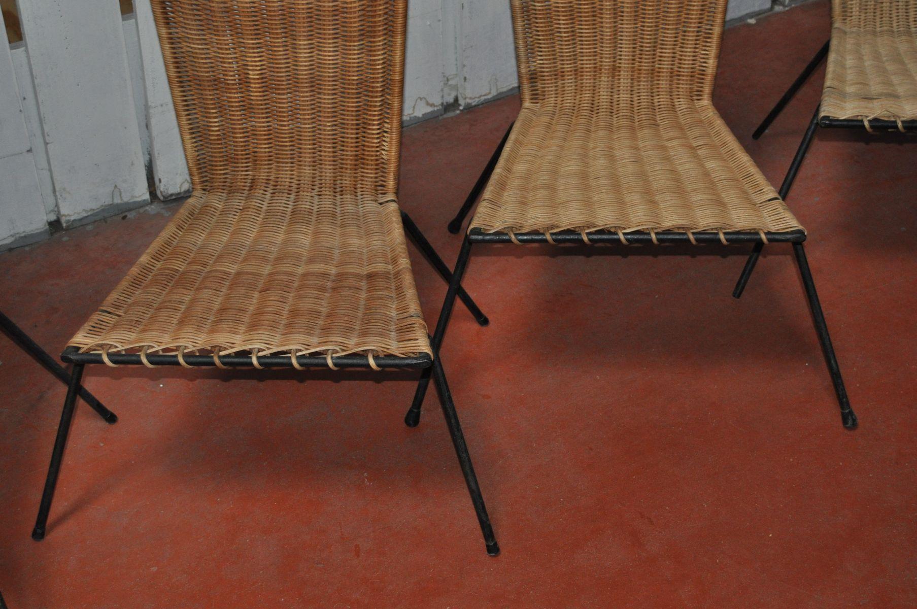 franz sische mid century st hle aus rattan von raoul guys. Black Bedroom Furniture Sets. Home Design Ideas