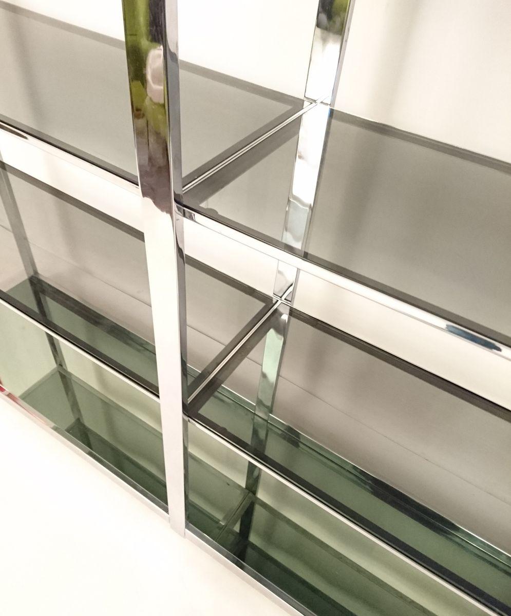 gro es italienisches wandregal aus chrom glas bei pamono kaufen. Black Bedroom Furniture Sets. Home Design Ideas