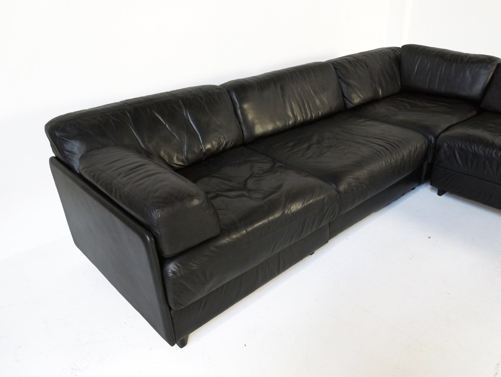ds 76 black leather element sofa by de sede for sale at pamono. Black Bedroom Furniture Sets. Home Design Ideas