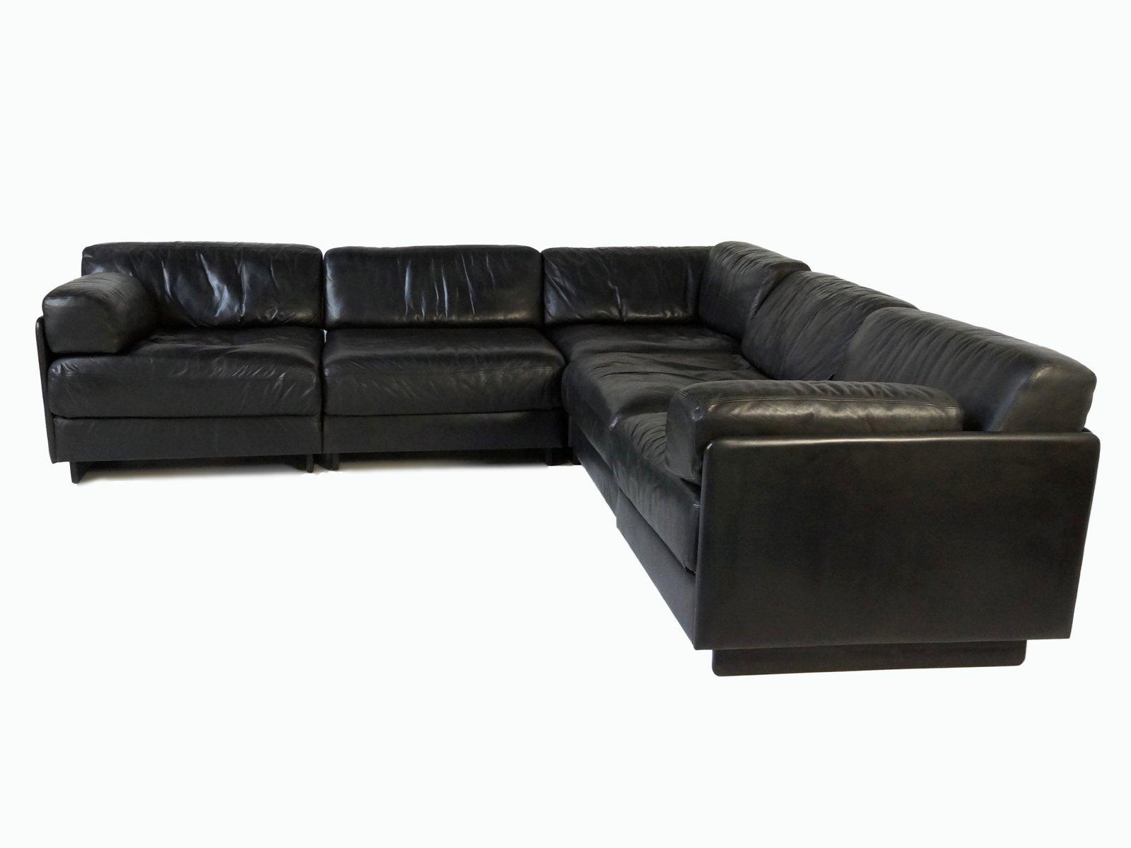 schwarzes ds 76 leder element sofa von de sede bei pamono kaufen. Black Bedroom Furniture Sets. Home Design Ideas