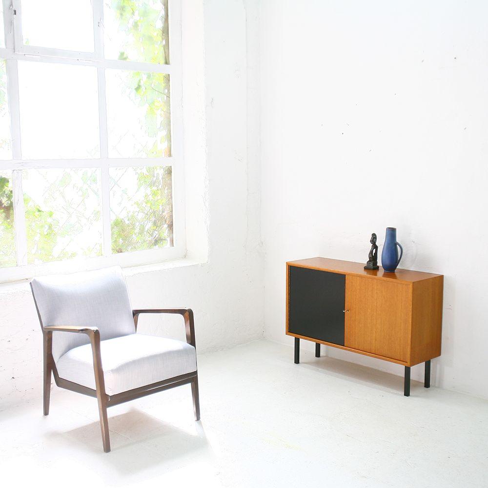 deutsche teak und stahl kommode von wk m bel 1960er bei. Black Bedroom Furniture Sets. Home Design Ideas