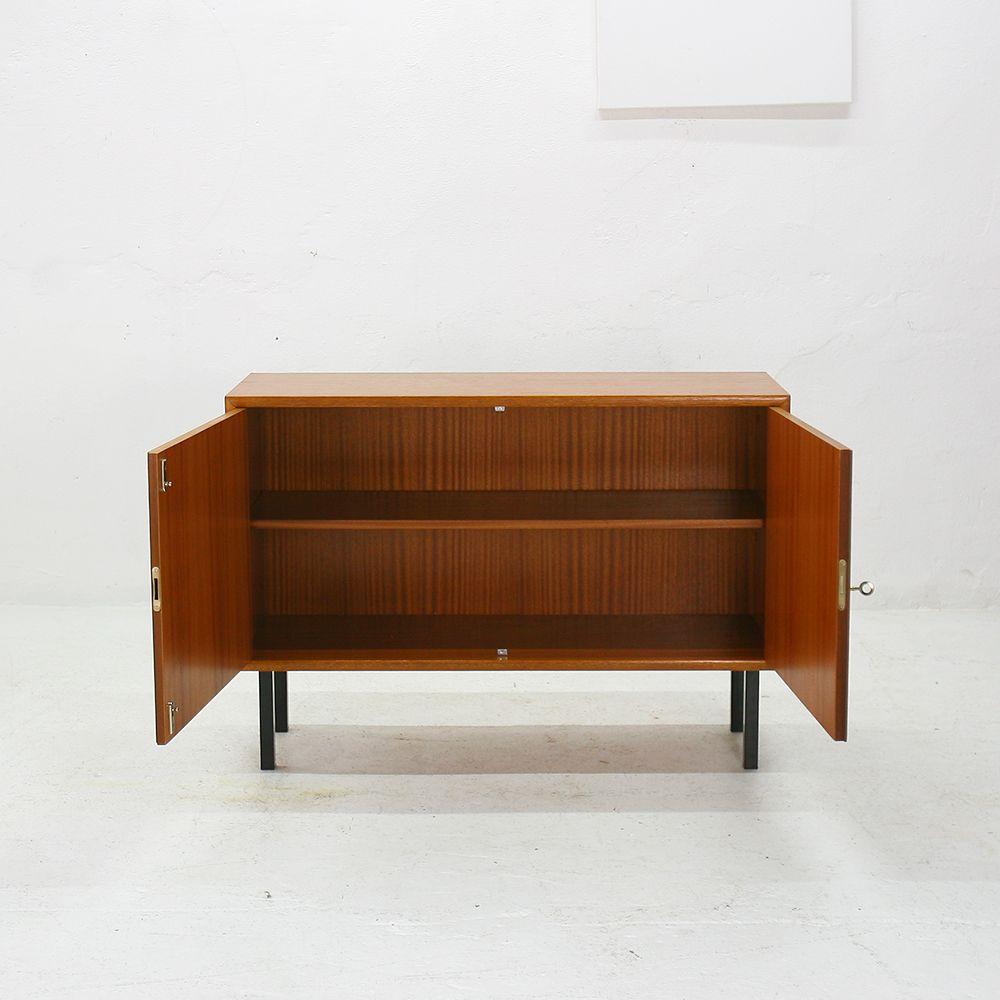 commode en acier et teck de wk m bel allemagne 1960s en. Black Bedroom Furniture Sets. Home Design Ideas