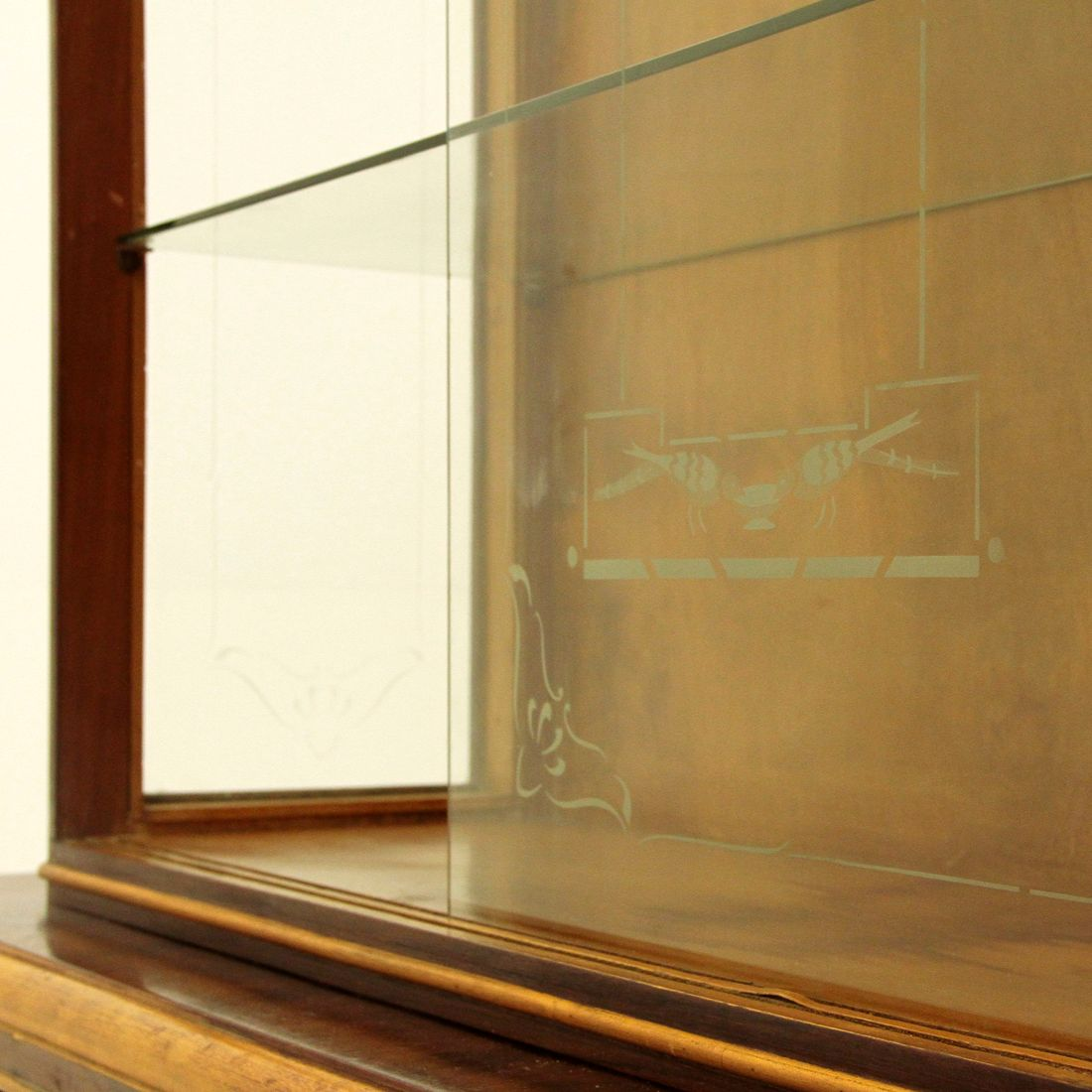 vitrine art d co en verre italie 1940s en vente sur pamono. Black Bedroom Furniture Sets. Home Design Ideas