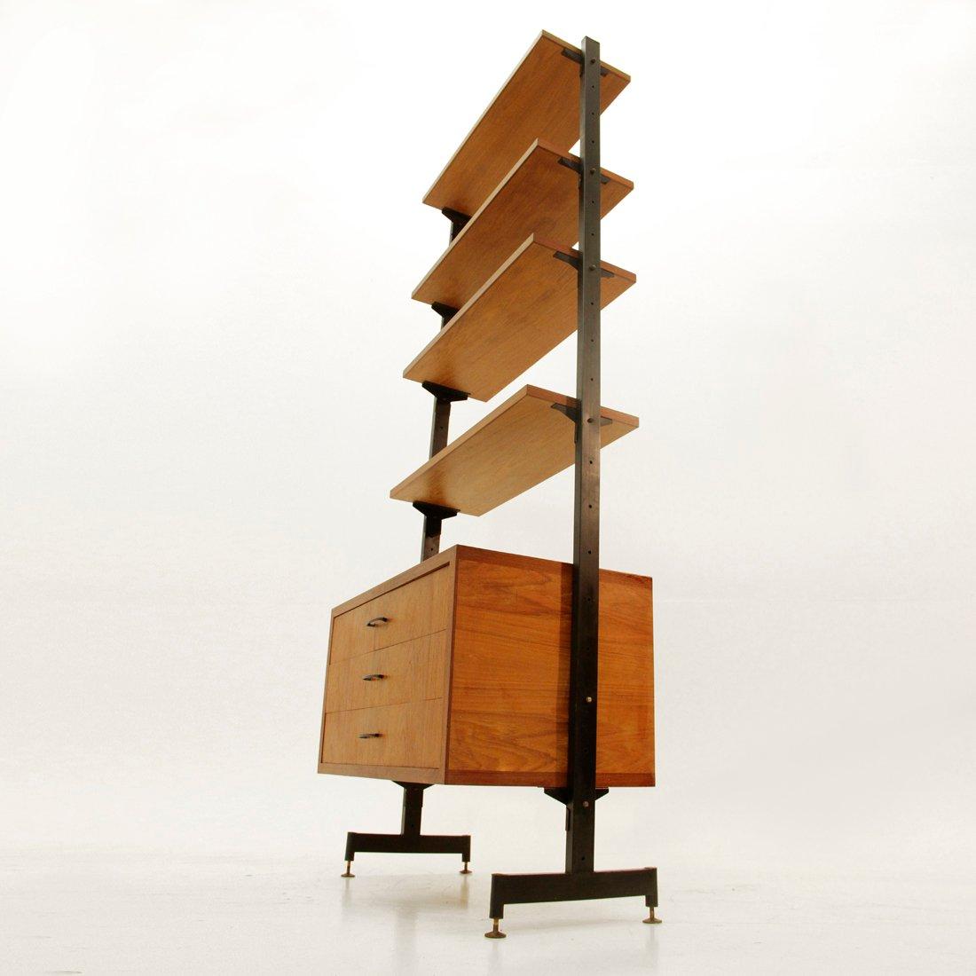 italienisches b cherregal aus eisen und teak 1960er bei pamono kaufen. Black Bedroom Furniture Sets. Home Design Ideas