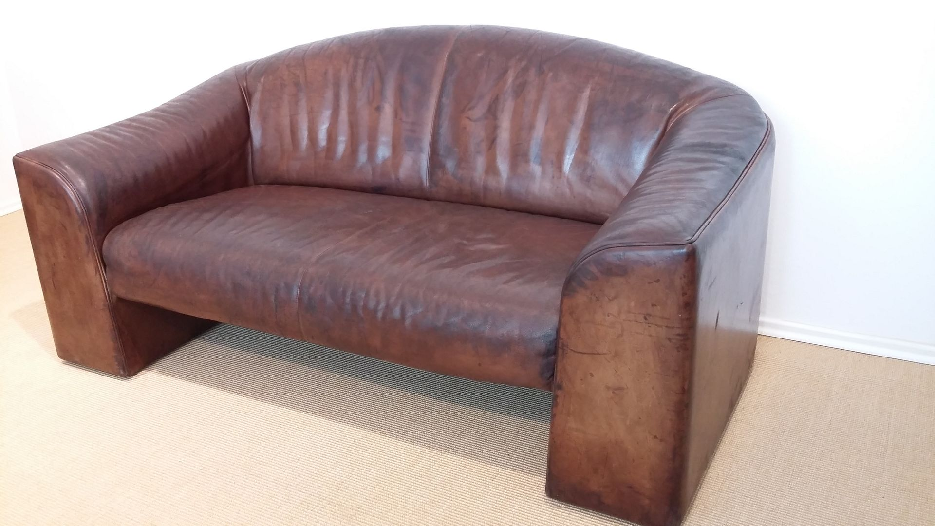 Brown vintage 2 seater leather sofa from de sede 1970s for sale at pamono Vintage tan leather sofa