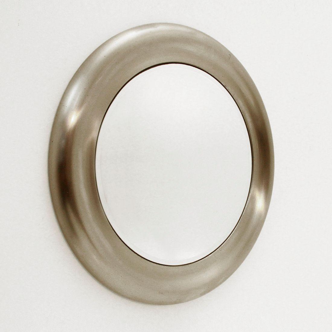 Italian circular brushed metal mirror 1970s for sale at for Metal miroir