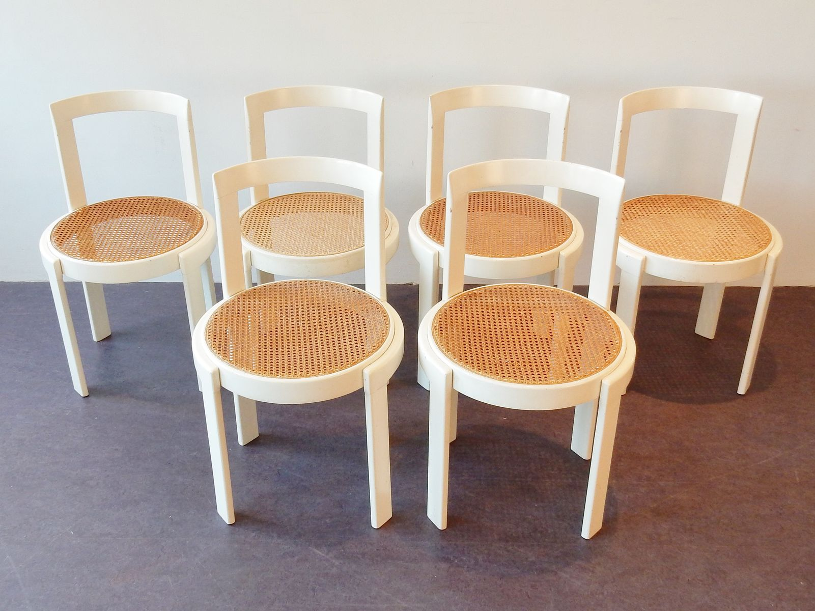 Vintage Dining Chairs With Wicker Seats Set Of 6 For Sale