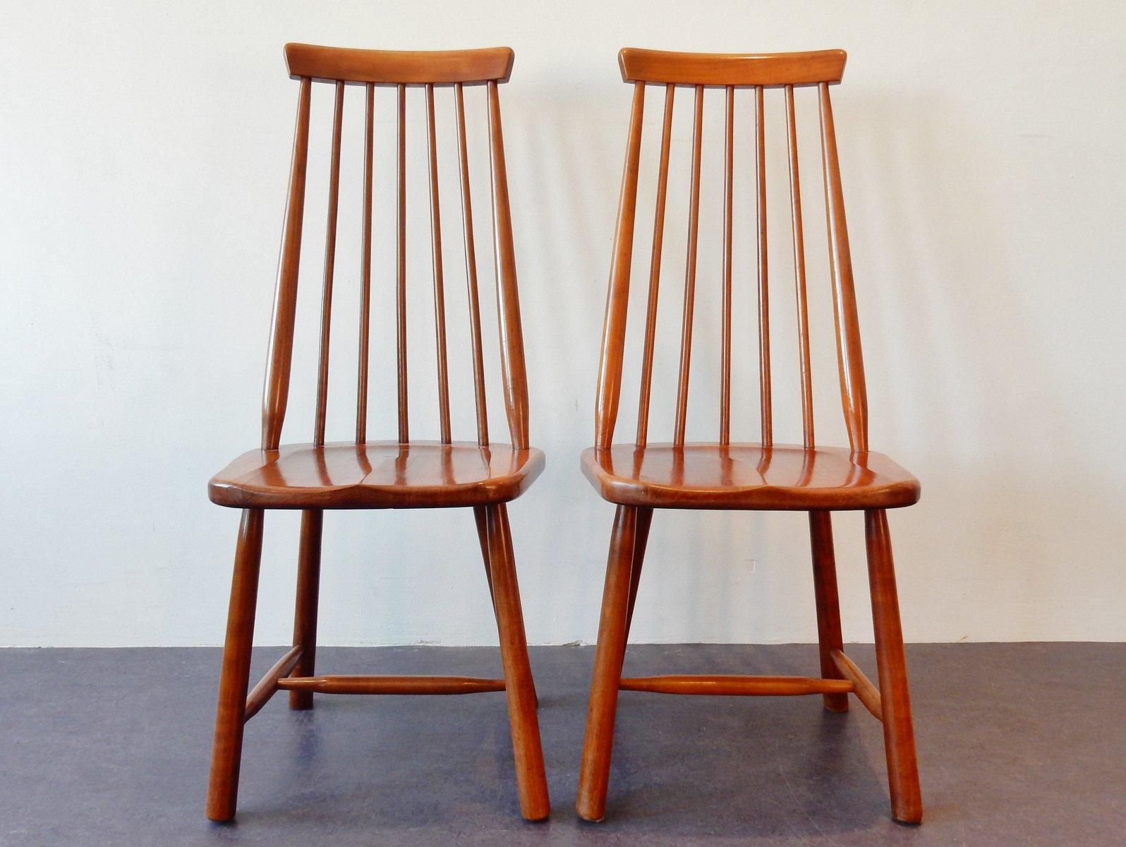 Chaises vintage en bois massif set de 2 en vente sur pamono for Chaise en bois massif