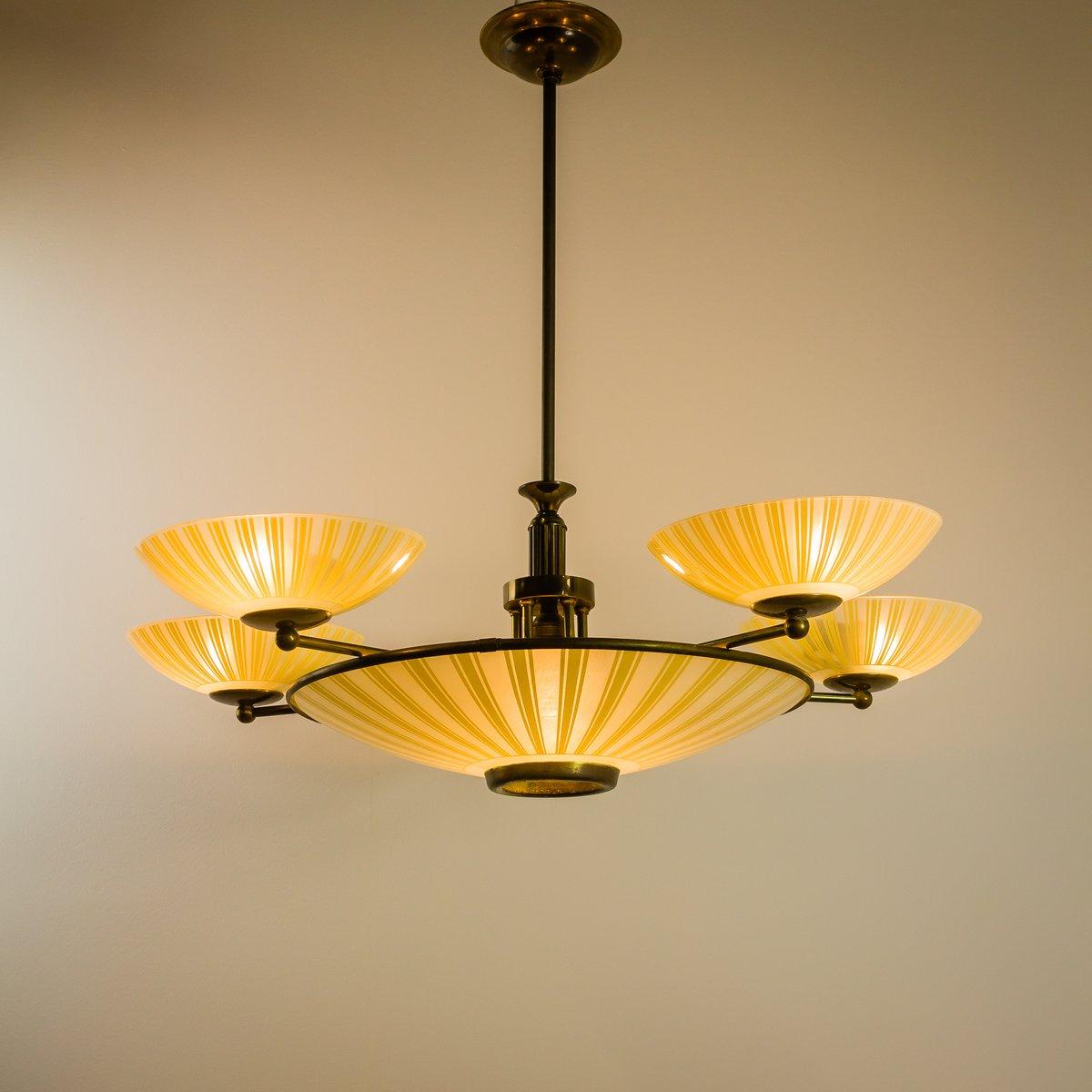 lampe d 39 entr e art d co en cuivre et verre en vente sur pamono. Black Bedroom Furniture Sets. Home Design Ideas