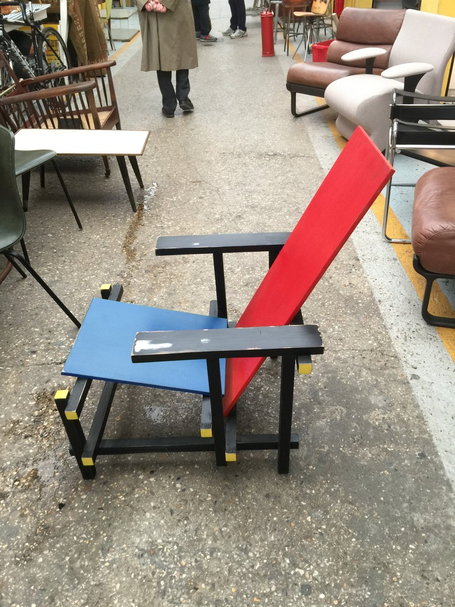 Gerrit rietveld chair for sale - Red And Blue Wooden Side Chair By Gerrit Rietveld For Cassina 1980s