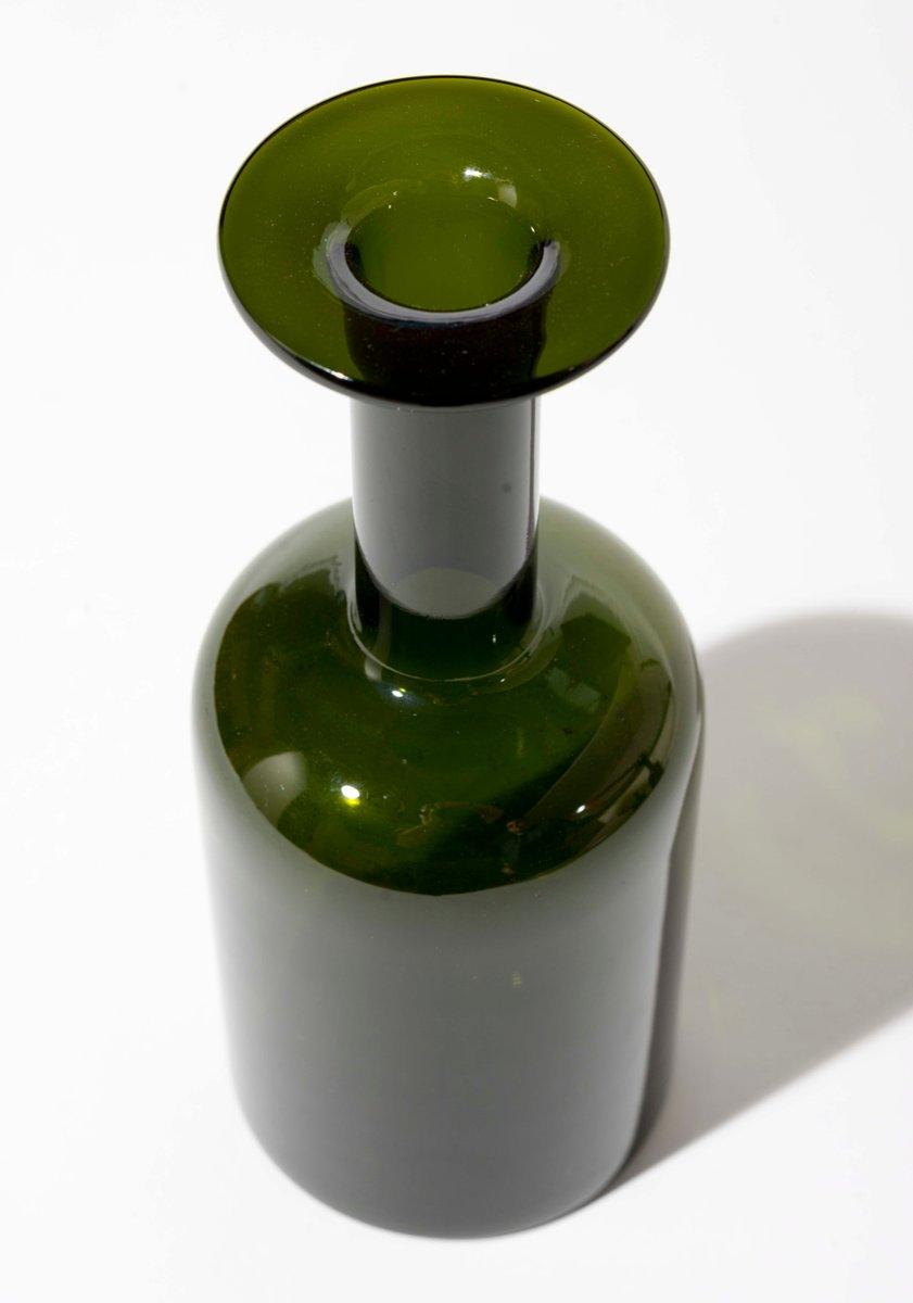 danish green vase by otto brauer for holmegaard 1950s for. Black Bedroom Furniture Sets. Home Design Ideas