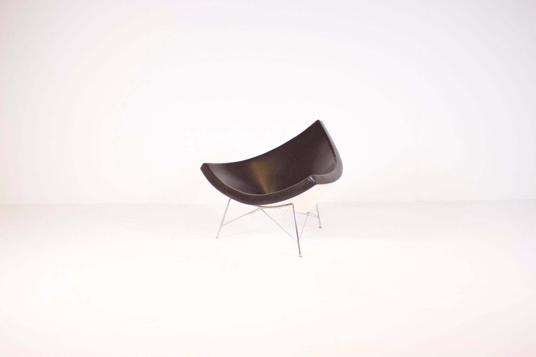 Brown Leather Coconut Chair by George Nelson for Vitra for sale at