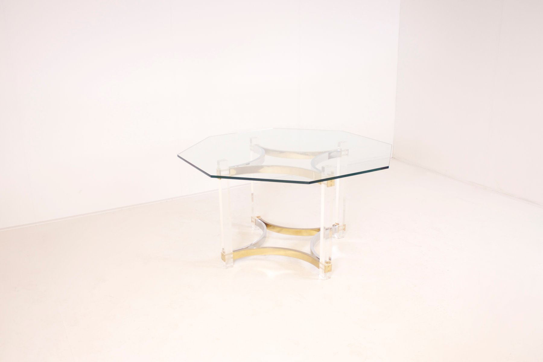 lucite brass and chrome dining table by alessandro albrizzi for
