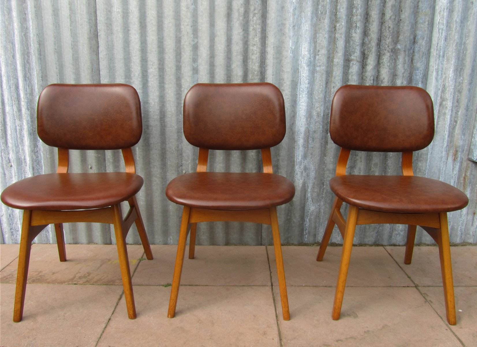 dutch midcentury vinyl dining chairs set of 3