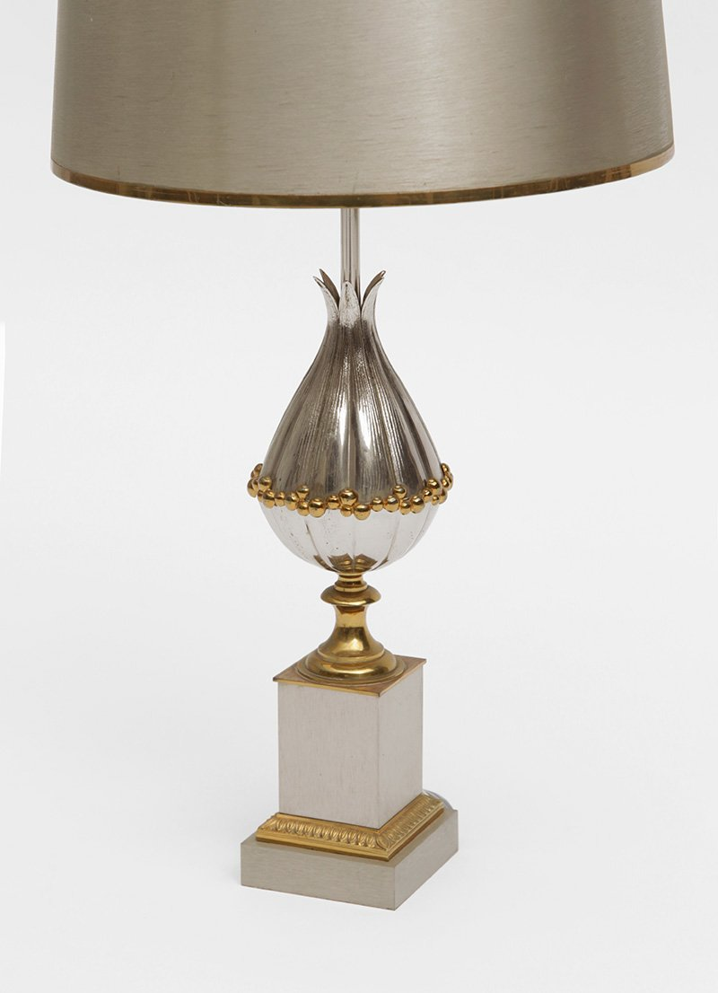 Beautiful French Gilt Bronze Lotus Table Lamps From Maison Charles Et Fils, 1950s,  Set Of 2