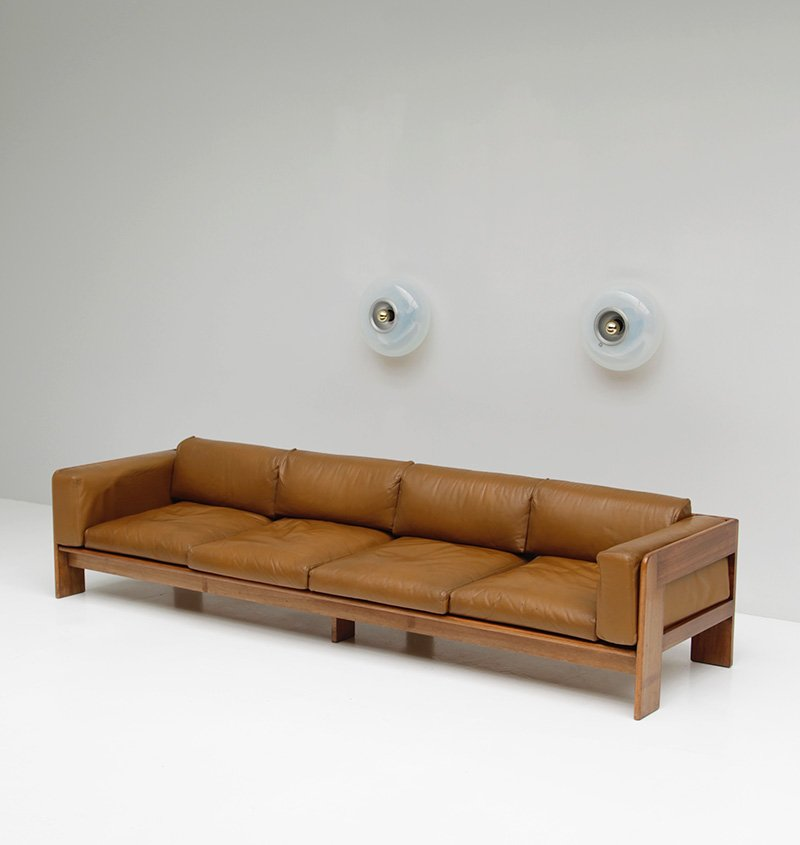 breites ledersofa in cognac 1970er bei pamono kaufen. Black Bedroom Furniture Sets. Home Design Ideas