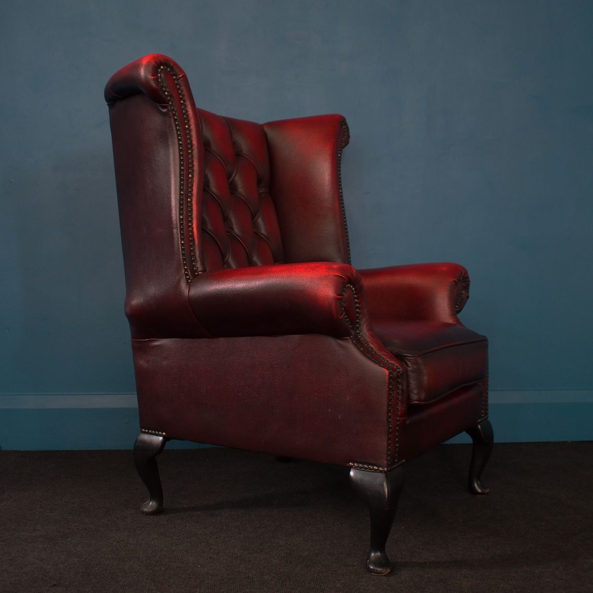 british oxblood leather wingback chesterfield armchair. Black Bedroom Furniture Sets. Home Design Ideas