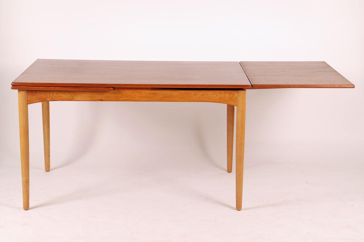 Mid century extendable teak oak dining table for sale at pamono - Oak extendable dining table ...
