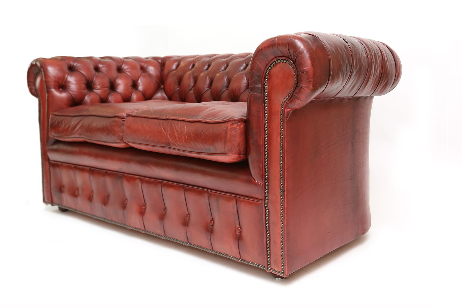 Mid Century British Oxblood Red Chesterfield Sofa For Sale