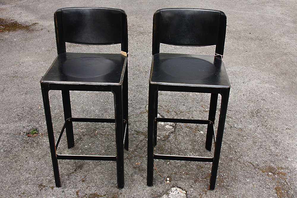 vintage italian leather bar stools by matteo grassi set of 2