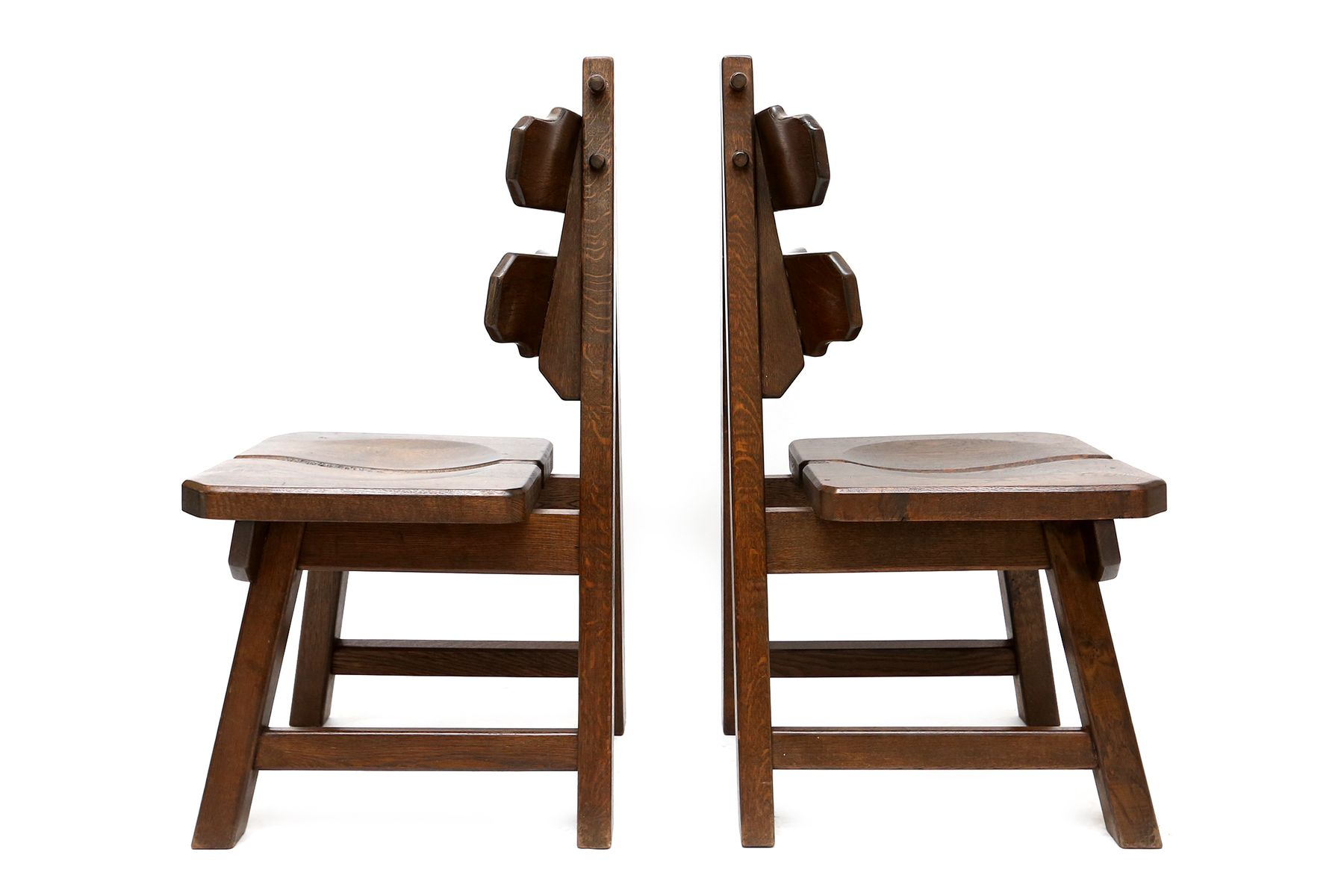 Brutalist Stained Oak Chairs 1935 Set Of 4 For Sale At Pamono. Full resolution  photograph, nominally Width 1800 Height 1200 pixels, photograph with #382011.