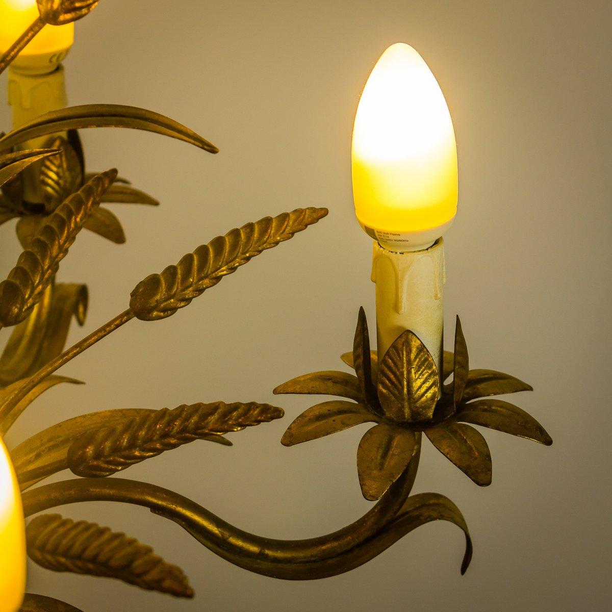 vergoldeter mid century metall kronleuchter in weizenoptik von masca bei pamono kaufen. Black Bedroom Furniture Sets. Home Design Ideas