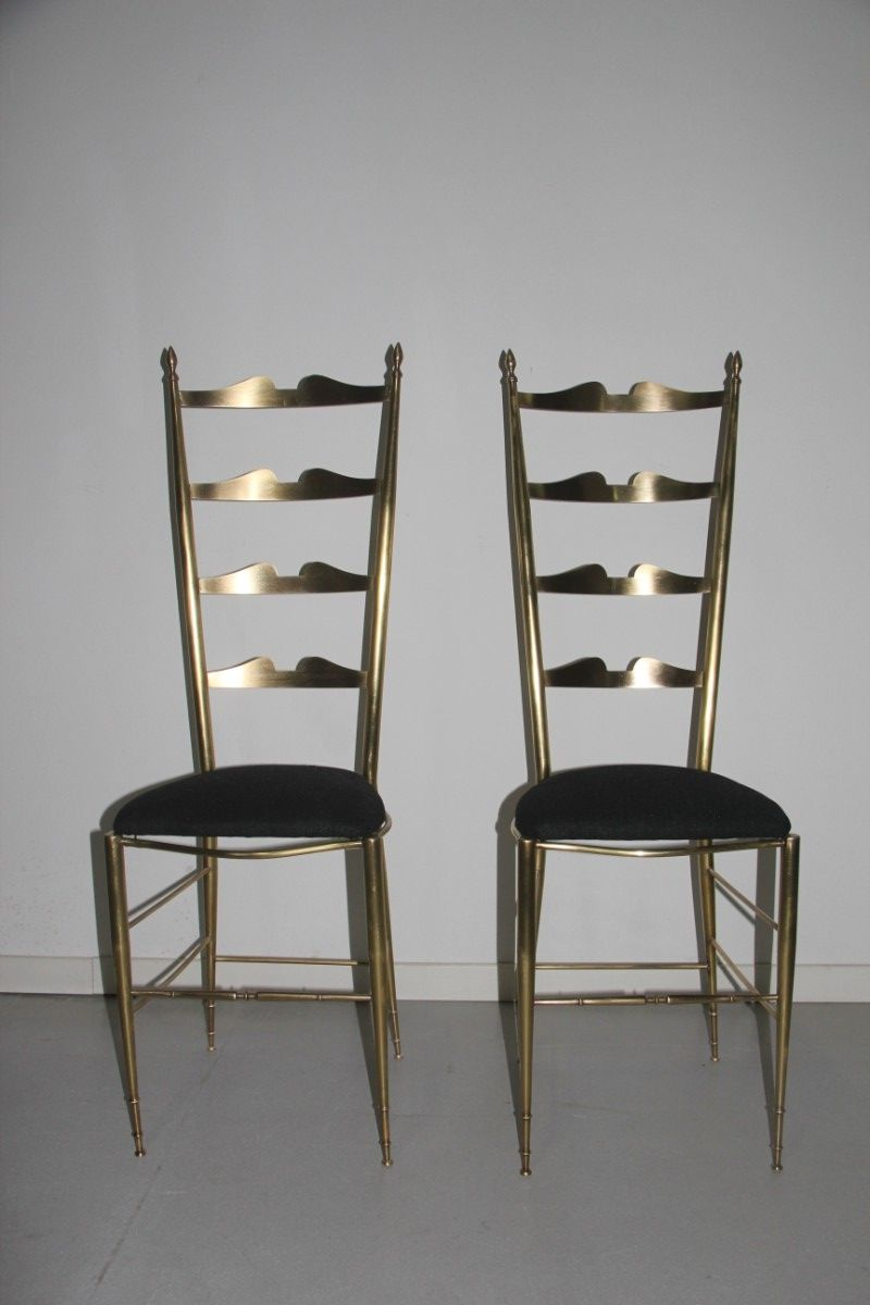 Italian Solid Brass Chairs, 1950, Set Of 2
